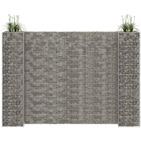 H-Shaped Gabion Planter Steel Wire 260x40x200 cm - Silver