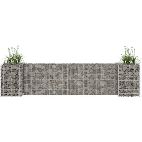 H-Shaped Gabion Planter Steel Wire 260x40x60 cm - Silver