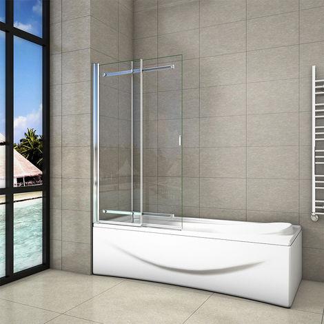 "main image of ""H.1400mm x L.900mm pivot Sliding Chrome Bath Shower Screen 6mm Safety tempered Glass"""