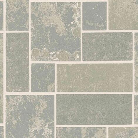 H2O Grey Tile Wallpaper Metallic Marble Kitchen Bathroom Glitter Silver Sparkle