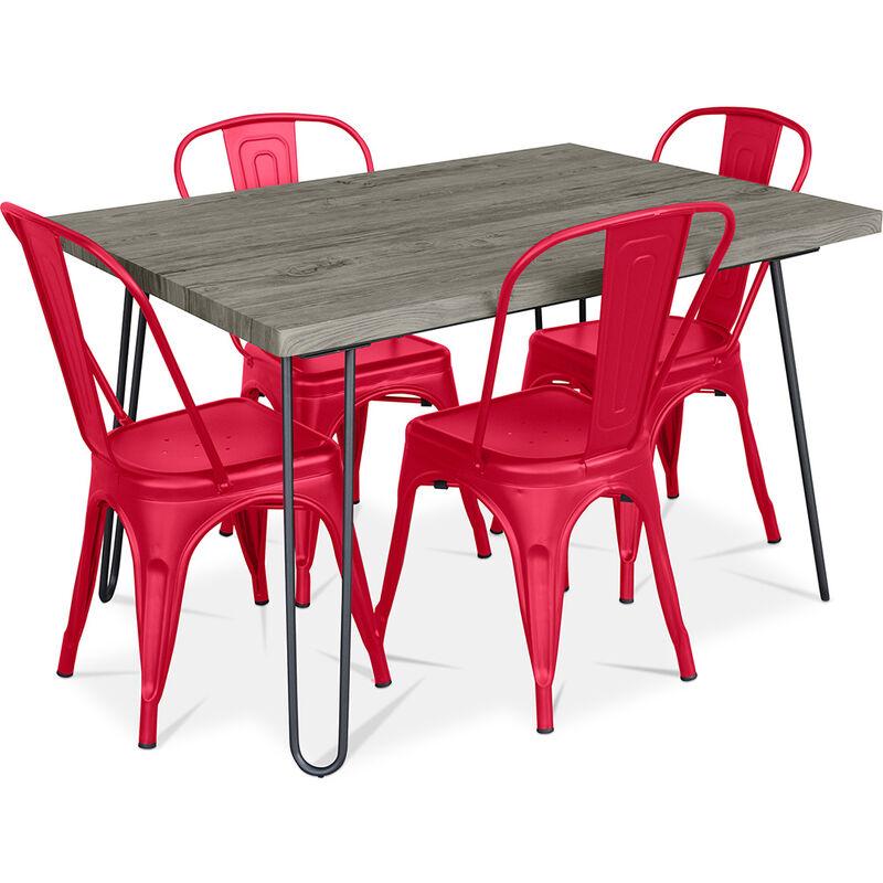 Haarnadel Grau 120x90 Esstisch + 4 Tolix Pauchard Style Stuhl Rot - PRIVATEFLOOR