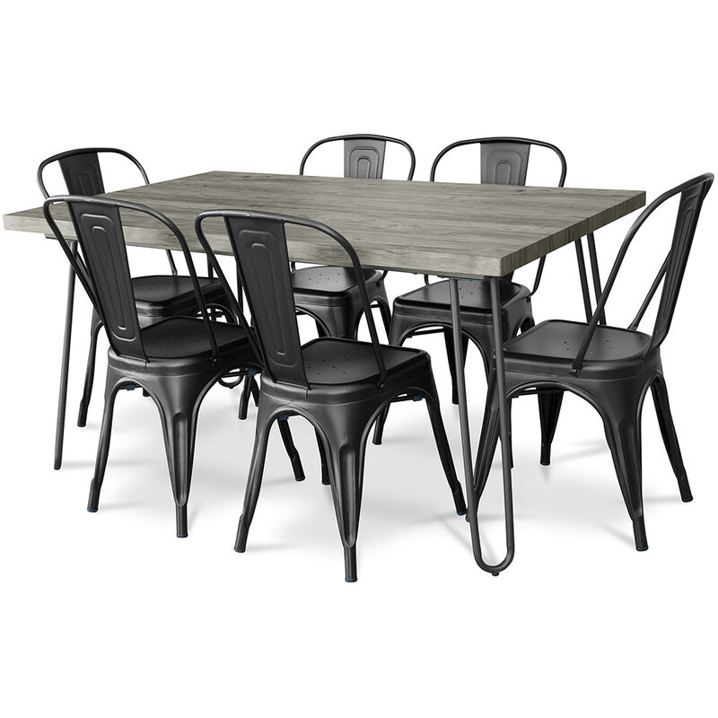Haarnadel Grau 150x90 Esstisch + 6 Tolix Style Stuhl Schwarz - PRIVATEFLOOR