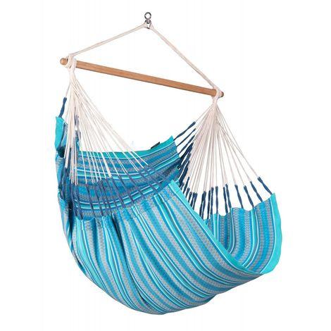 Habana Azure - Chaise-hamac Comfort en coton bio - Bleu / turquoise