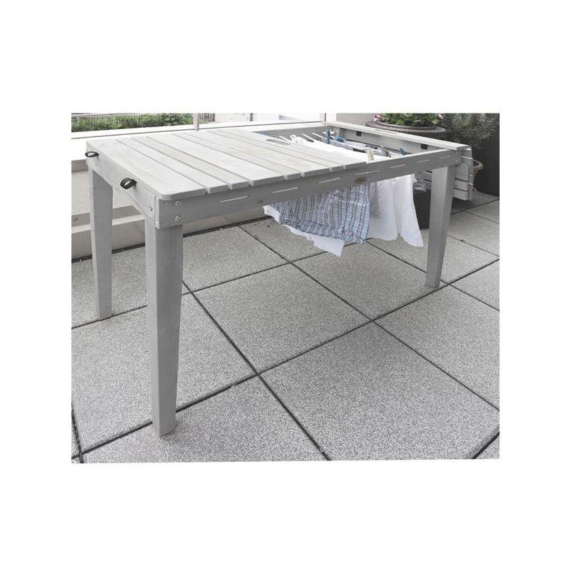 Häufig Habau Gartentisch / Balkontisch mit Wäscheleine Holz grau 106x60cm JL73
