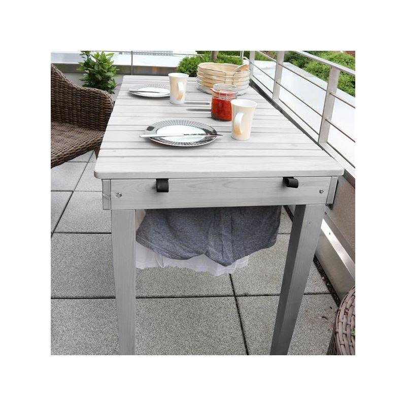 Habau Gartentisch Balkontisch mit Wäscheleine Holz grau 106x60cm