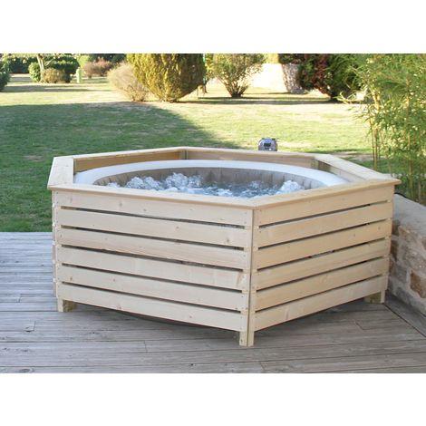 Habillage en bois pour spa gonflable Intex- AquaZendo