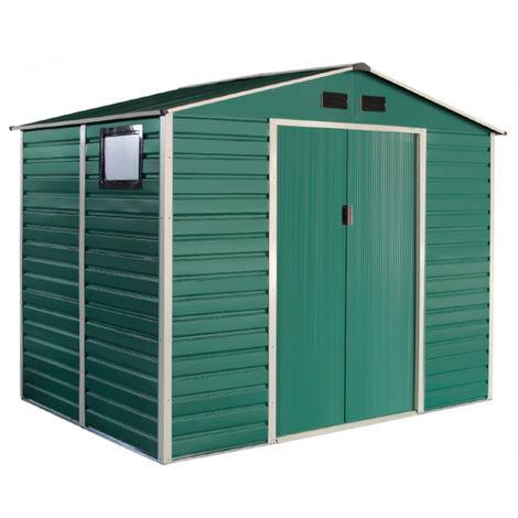 Habit Box casetta in lamiera da giardino doppio spessore 277x181xh218cm Green L-Plus