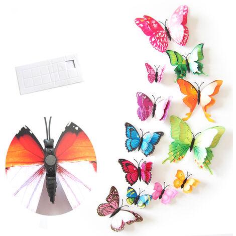 Habitacion 12pcs pegatinas de pared doble layerd forma de mariposa de PVC de pared Sticker Decal Home Living Nursery Frigorifico etiquetas engomadas DIY decoracion del arte, multicolor