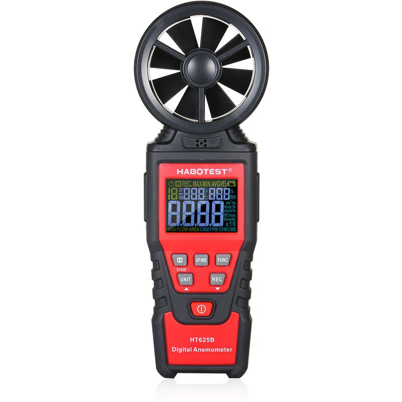 Image of HT625B Handheld Digital Anemometer Gauge Accurately Measure Wind Temperature Backlight LCD Screen - Habotest