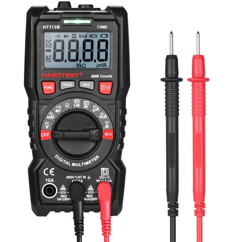 Multim/ètre Num/érique Portable 4000 Points Testeur de Voltage AC//DC Courant Voltm/ètre Ohm/ètre Ecran LCD