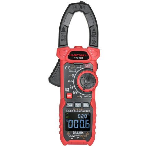 HABOTEST pince multimetre numerique multifonctionnelle AC / DC True RMS multimetre apince auto-portee modele HT208D expedition sans batterie