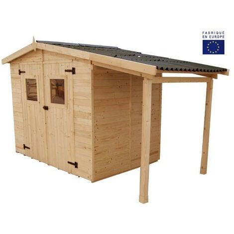 Habrita - Abri en panneaux 16 mm avec plancher (5,04 m2) et bûcher (2,08 m2) - ED2416.01B