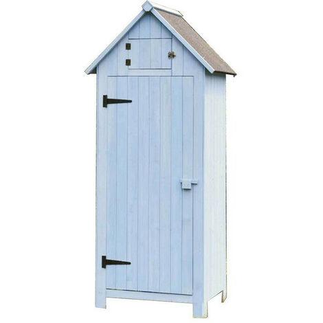 Habrita - Armoire de jardin bleue en bois 3 étagères - ARM0805