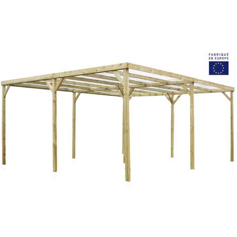 Habrita - Carport autoclavé 2 voitures toit plat avec couverture surface ext. 30 m2 - CAR5060A