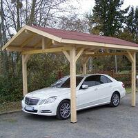 Habrita Foresta - Carport en bois double pente bardeau bitumé en rouleau 10,86m2 - KA3550BM
