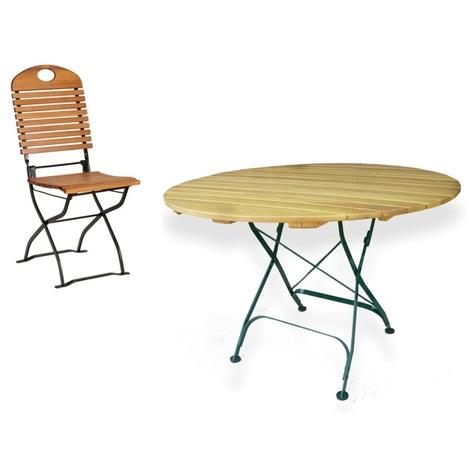 Habrita Foresta - Composition mobilier jardin : table ronde Ø 110 cm + 4  chaises pliable en acacia - SJ-LOTA2