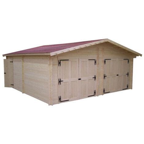 Habrita Foresta - Garage double emboîté 42 mm d'épaisseur 6,2x6,2m surface utile 35m2 - VR6262