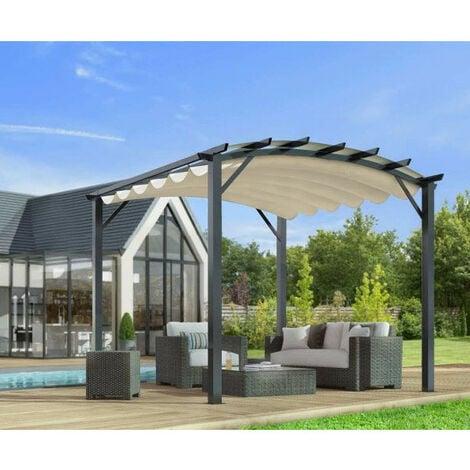 Habrita Foresta - Pergola arche structure mixte aluminium/acier gris  anthracite 11,22 m2 toiture écru 140 gr/m2 - PER3433GE