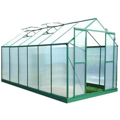 Habrita - Serre jardin structure Alu couleur verte polycarbonate 6 ...