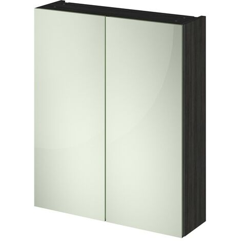 Hacienda Black 600mm Mirror Cabinet 50/50 Split (180mm Deep)