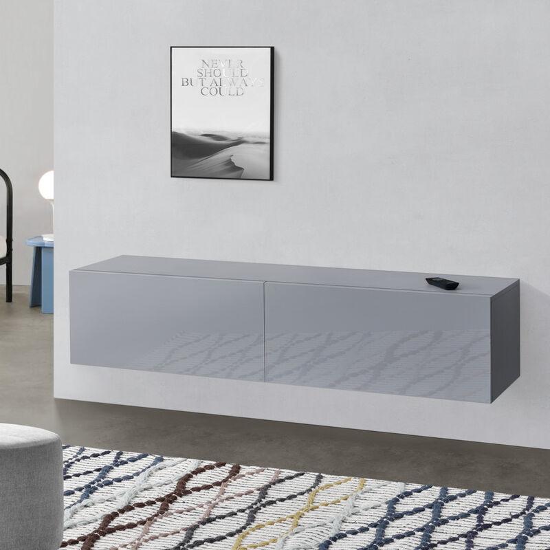 [en.casa] - Hängeboard Hellgrau Hochglanz Hängeschrank 140x33x30cm Wohnwand mit 2 Ablagefächern TV Lowboard Hängekonsole Hängend