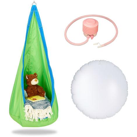 Hängehöhle Kinder, robuster Stoff, Indoor und Outdoor, 140x55cm, bis 70kg, Hängesack mit Haken-Öse, grün-blau