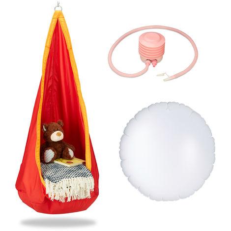 Hängehöhle Kinder, robuster Stoff, Indoor und Outdoor, 140x55cm, bis 70kg, Hängesack mit Haken-Öse, orange-rot