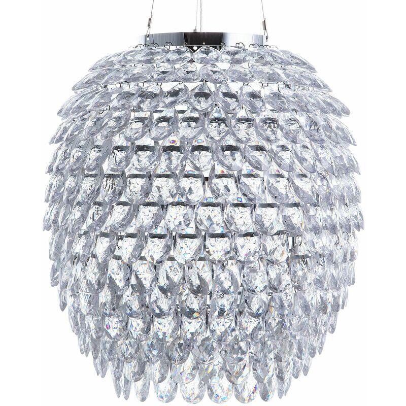 Hängeleuchte Silber Acrylglas rund mit Kristallen Kronleuchter-Optik Glamour Stil