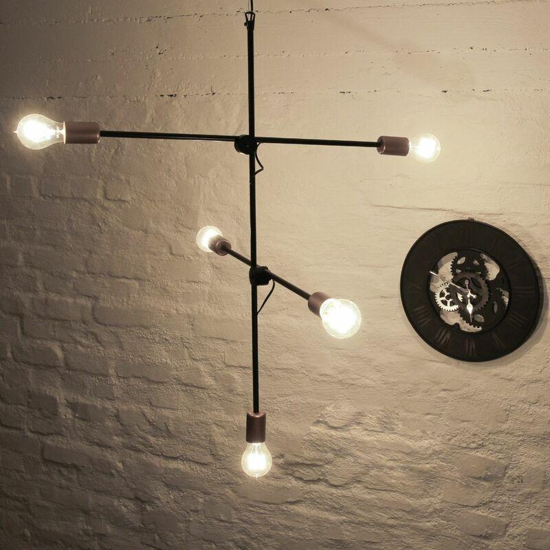 Licht-erlebnisse - Hängelampe in Schwarz Industrial Design verstellbar E27