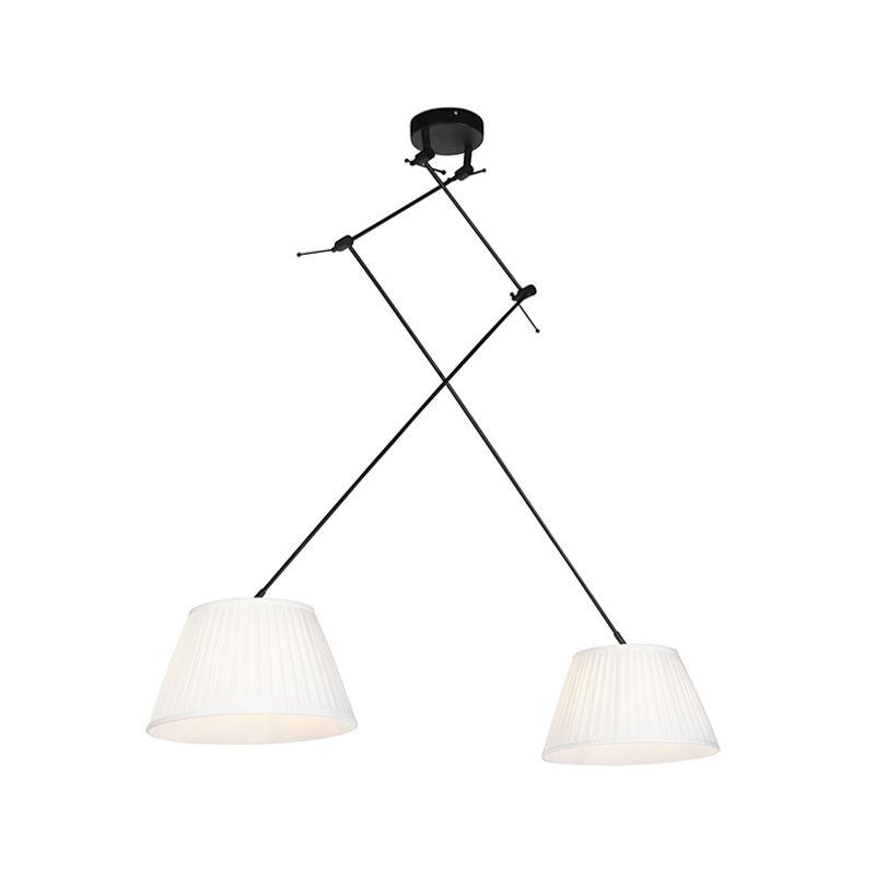 Qazqa - Hängelampe mit plissierten Schatten Creme 35 cm - Blitz II schwarz