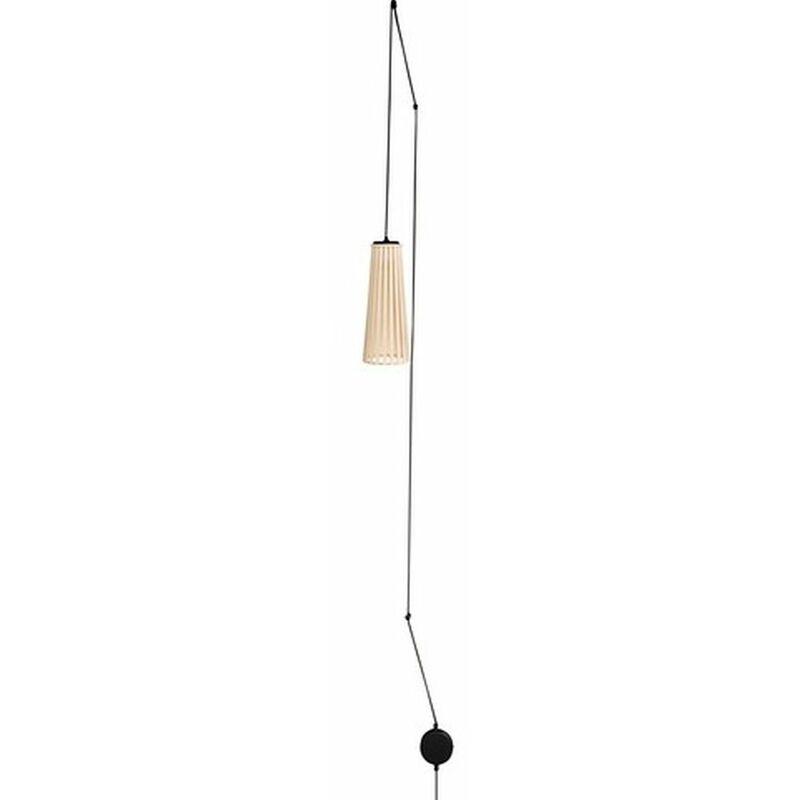 Licht-erlebnisse - Hängelampe mit Stecker Holzschirm Weiß DOVER