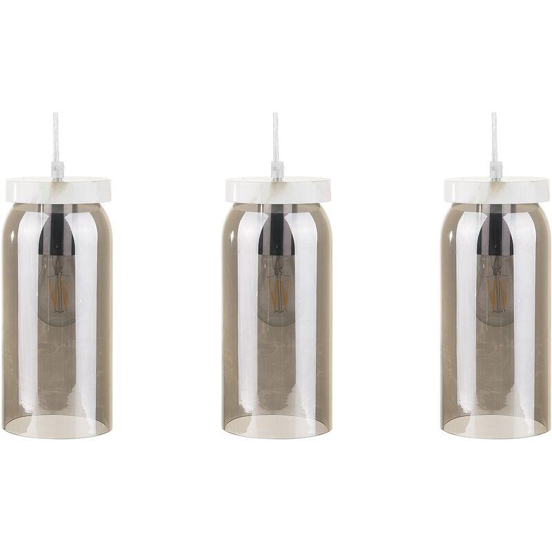Beliani - Hängeleuchte 3er Set Grau Rauchglas Schirm in Zylinderform mit Marmoroptik Minimalistisches Design