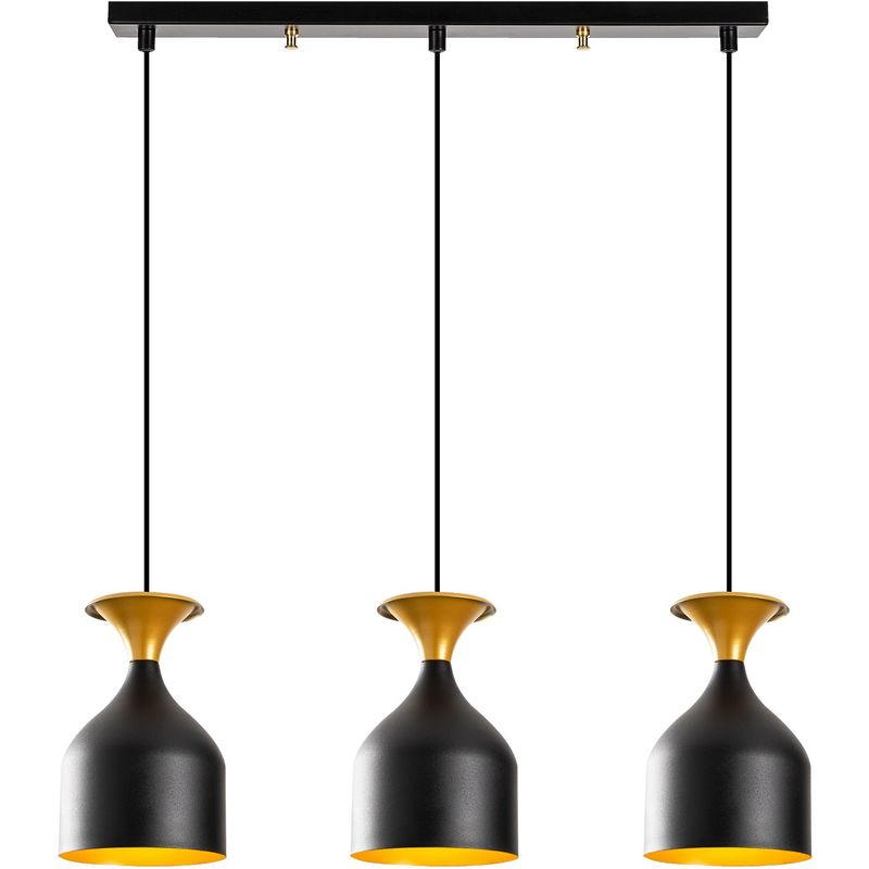 Hängelampe 'Sivani' Schwarz/Golden 3 x E 27 Ohne Birne [OPV-527ABY1820] (OPV-527ABY1820)