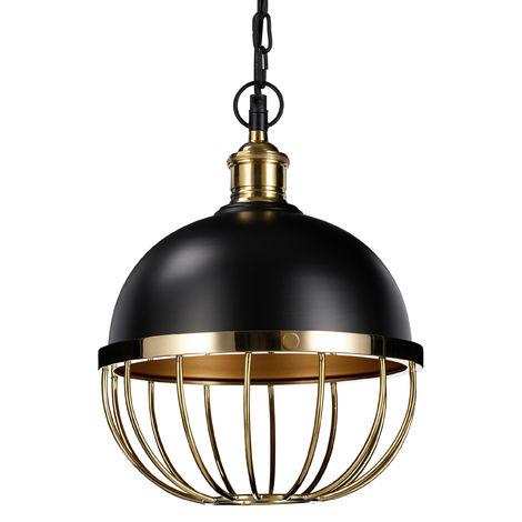 Lampe Hängelampe Kugel Ball Eisen Metall Industrie Design schwarz kupfer E27