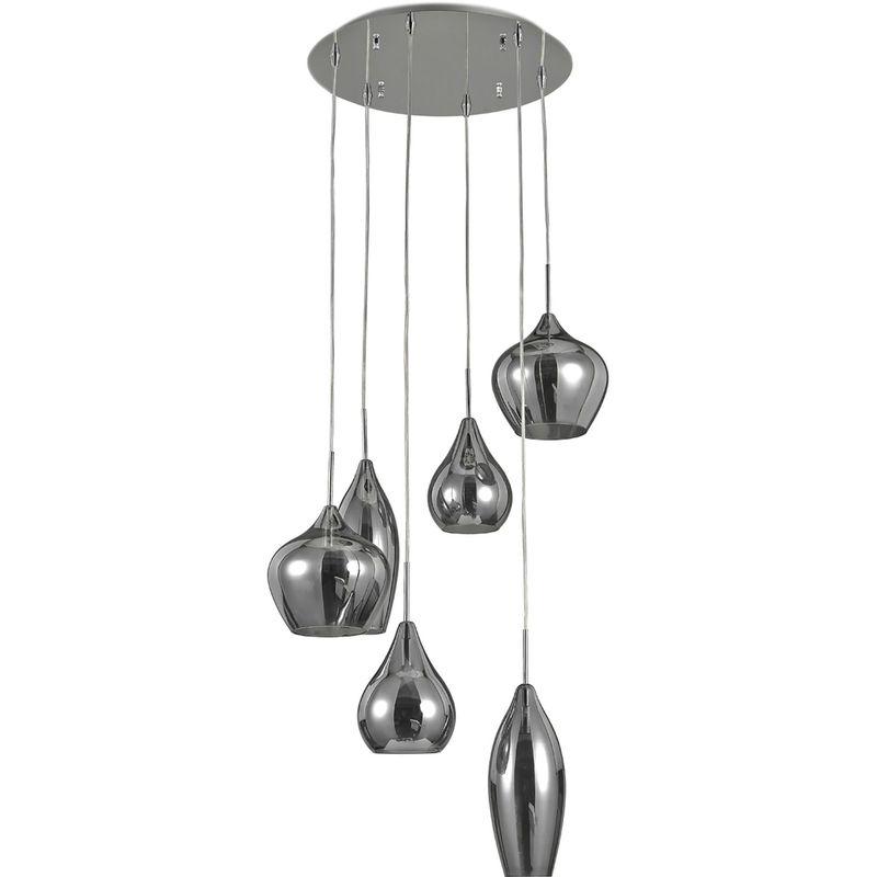 Molto Luce - Hängeleuchte Soft, 230 V max. 6 x 40 W E14, chrom, Rauchglas