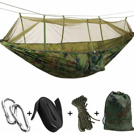 Hängematte 260 x 140 cm 300 kg Anti-Mücken-Ladung für Camping im Freien Tarnung