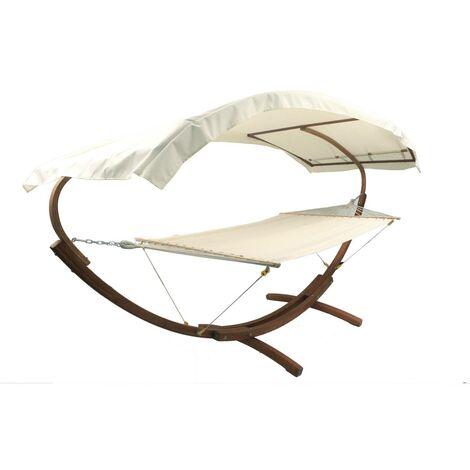 Hängematte aus Baumwolle mit Holzrahmen und Vordach Dallas XL - 4 m - 2-Sitzer - Ecru Farbe