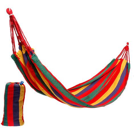 Hängematte drehbares hängendes Bett Reise Camping Seil rotes Band 1 Person (260 * 100cm)