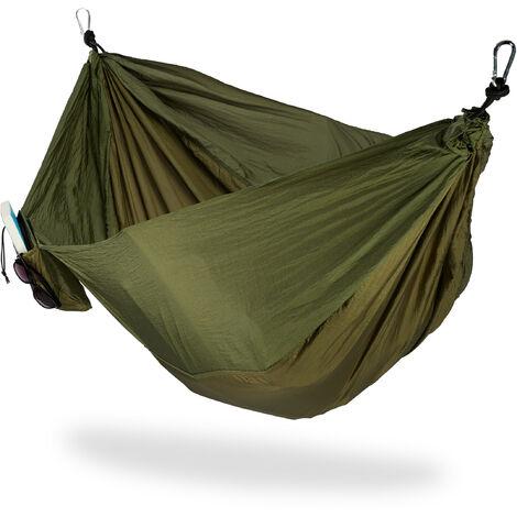 Hängematte Outdoor, Reisehängematte für 2 Personen, ultraleicht, Camping, bis 200 kg, 152 x 255 cm, dunkelgrün