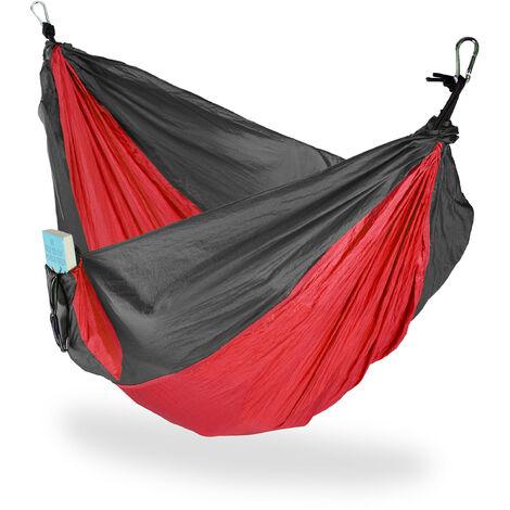 Hängematte Outdoor, Reisehängematte für 2 Personen, ultraleicht, Camping, bis 200 kg, BT: 152x255 cm, rot-grau