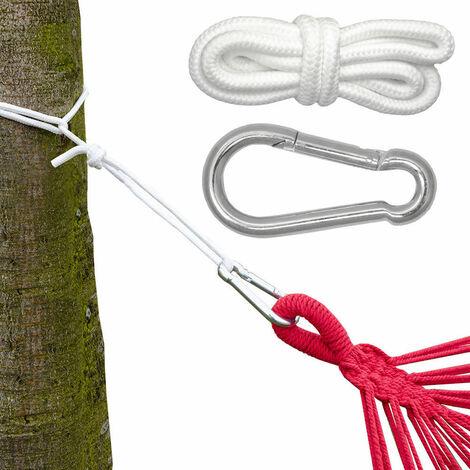 Hängematten Befestigung bis 160kg - mit Karabiner und Seilen