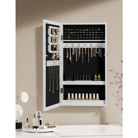 Hängend Schmuckschrank Wandspiegel zum Hängen mit Tür und Magnetverschluss weiß JBC51W