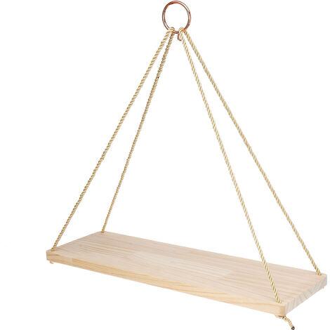 Hängendes Holzregal mit Seilwandregal Holzblumentopf für Küchendekor Schlafzimmer Wohnzimmer Büro Kleine Größe Hasaki