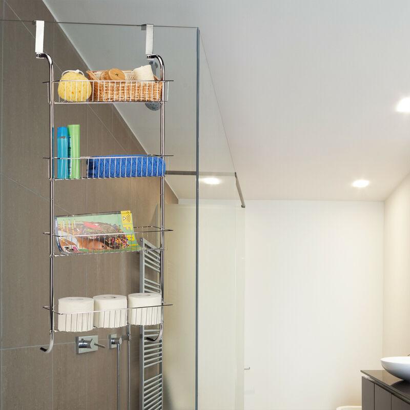 Hängeregal Chrom, Wandregal Badezimmer, Badregal Metall, Küchenregal zum  Einhängen, HBT: 112x45x23 cm, silber