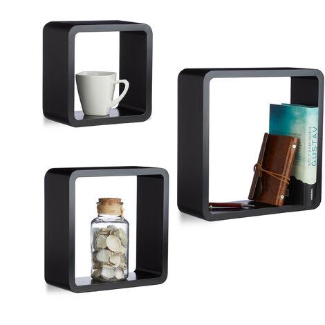 Hängeregal Cube 3er Set, Wandboard freischwebend, Wandregal Holz, quadratisch, schmal, MDF, Würfel, schwarz