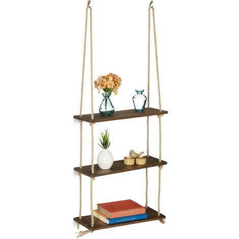 Hängeregal Holz, 3 Ablagen, Seil Regal, Deko, Pflanzen, Wohnzimmer, Küche, Wandregal, HBT: 96x43x15 cm, braun