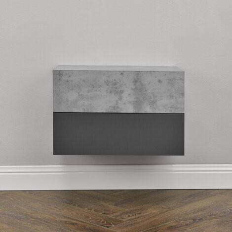 Hängeregal Oslo 2er Set 46x30x15 cm Wandschrank mit Schublade Betonoptik/Dunkelgrau