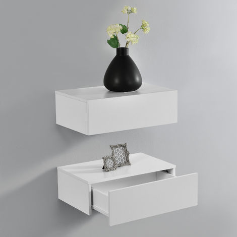 Hängeregal Oslo 2er Set Wandschrank mit Schublade Weiß Matt