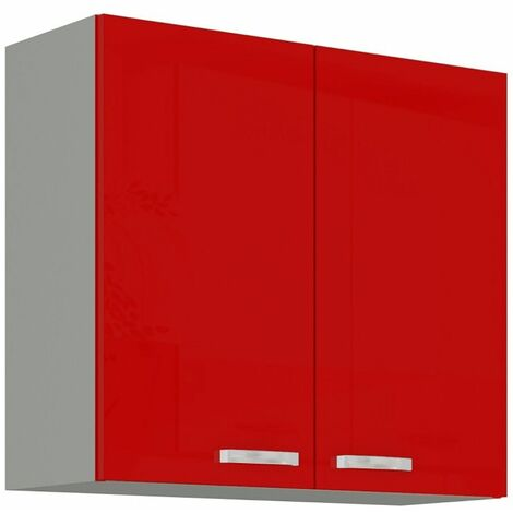 Hängeschrank 80 cm Rose Hochglanz Rot Grau Küchenzeile Küchenblock Küche Vario