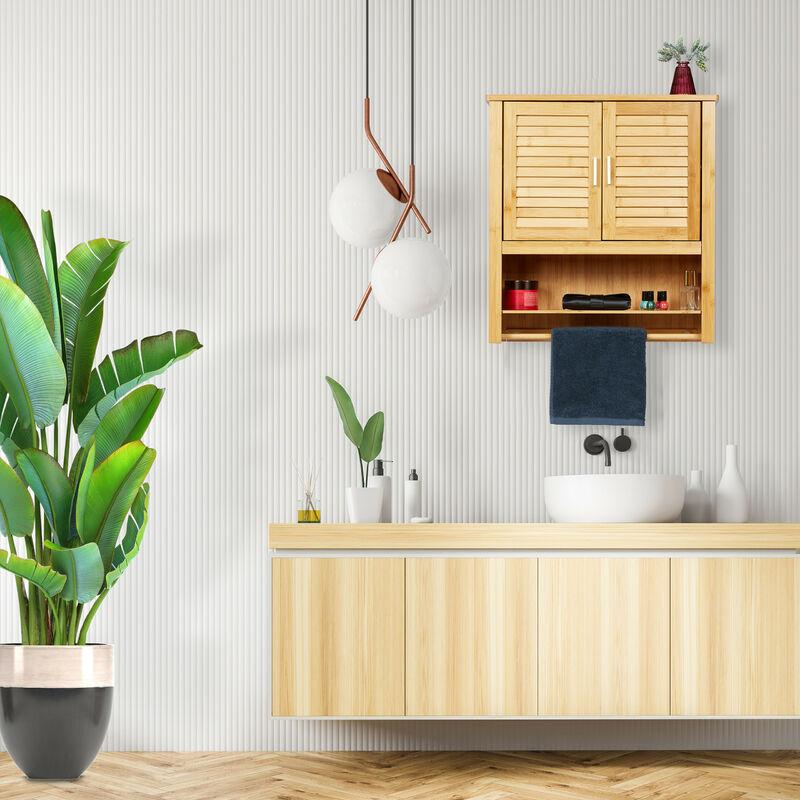 Hängeschrank Lamell Bambus Hbt 66 X 60 X 20 Cm Badschrank Zum Hängen Mit Handtuchhalter Badezimmerschrank Mit 2 Türen Und Regalfach Bad Schrank